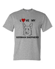 Load image into Gallery viewer, Love My German Shepherd t-shirt crew neck grey