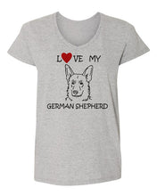 Load image into Gallery viewer, Love My German Shepherd t-shirt v neck grey