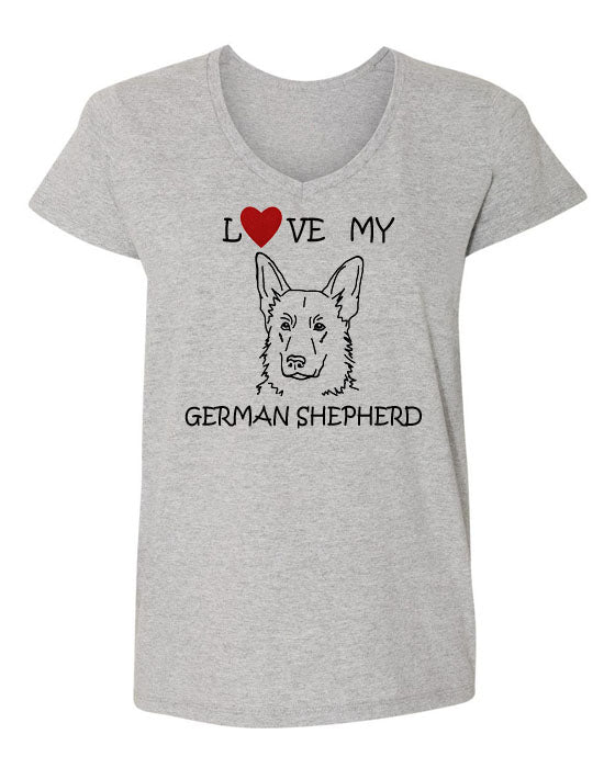 Love My German Shepherd t-shirt v neck grey