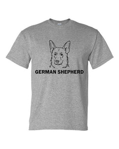 German Shepherd t-shirt crew neck grey