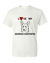 Load image into Gallery viewer, Love My German Shepherd t-shirt crew neck white