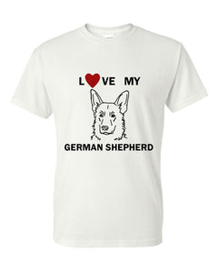 Love My German Shepherd t-shirt crew neck white