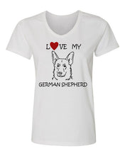 Load image into Gallery viewer, Love My German Shepherd t-shirt v neck white