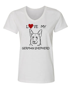 Love My German Shepherd t-shirt v neck white