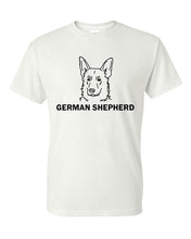 Load image into Gallery viewer, German Shepherd t-shirt crew neck white