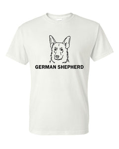 German Shepherd t-shirt crew neck white