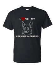 Load image into Gallery viewer, Love My German Shepherd t-shirt crew neck black