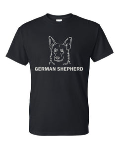 German Shepherd t-shirt crew neck black