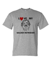 Load image into Gallery viewer, Love My Golden Retriever t-shirt crew neck grey