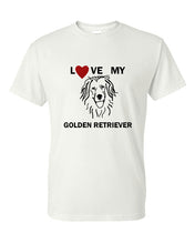 Load image into Gallery viewer, Love My Golden Retriever t-shirt crew neck white