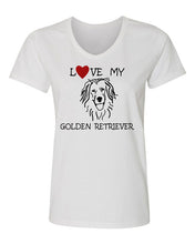 Load image into Gallery viewer, Love My Golden Retriever t-shirt v neck white