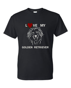 Love My Golden Retriever t-shirt crew neck black