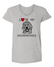 Load image into Gallery viewer, Love My Goldendoodle t-shirt v neck grey