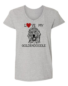 Love My Goldendoodle t-shirt v neck grey