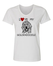 Load image into Gallery viewer, Love My Goldendoodle t-shirt v neck white