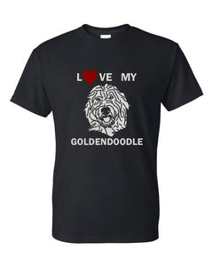 Love My Goldendoodle t-shirt crew neck black