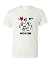 Load image into Gallery viewer, Love My Redbone t-shirt crew neck white