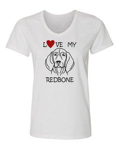 Love My Redbone t-shirt v neck white