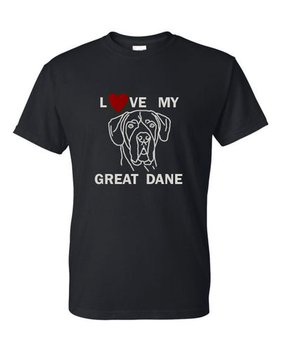 Love My Great Dane t-shirt crew neck black