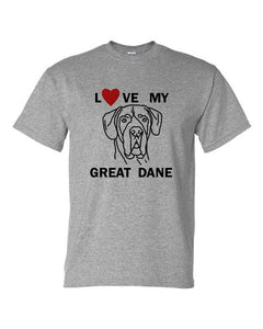 Love My Great Dane t-shirt crew neck grey