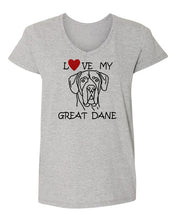 Load image into Gallery viewer, Love My Great Dane t-shirt v neck grey