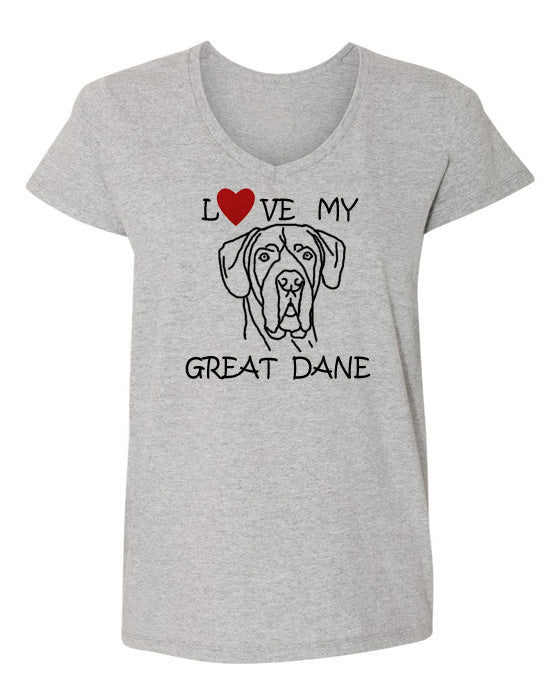 Love My Great Dane t-shirt v neck grey