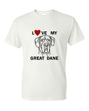 Load image into Gallery viewer, Love My Great Dane t-shirt crew neck white