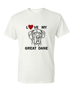 Love My Great Dane t-shirt crew neck white