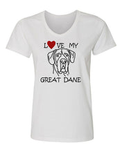 Load image into Gallery viewer, Love My Great Dane t-shirt v neck white