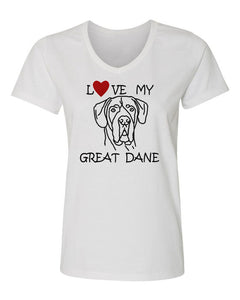 Love My Great Dane t-shirt v neck white