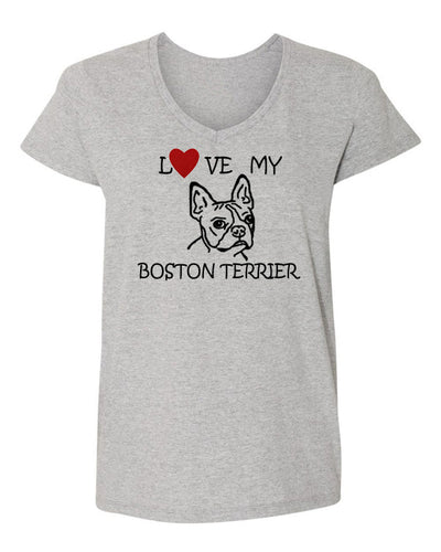 Love My Boston Terrier t-shirt v neck grey