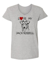 Load image into Gallery viewer, Love My Jack Russell t-shirt v neck grey
