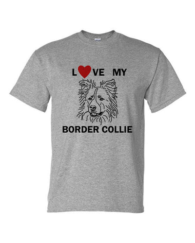 Love My Border Collie t-shirt crew neck grey