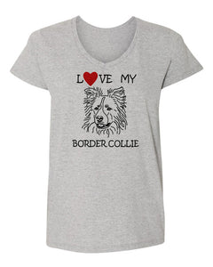 Love My Border Collie t-shirt v neck grey