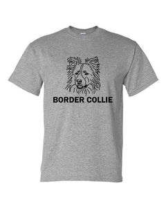 Border Collie t-shirt crew neck grey