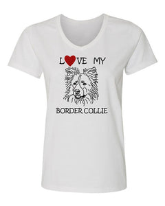Love My Border Collie t-shirt v neck white
