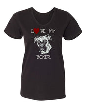 Load image into Gallery viewer, Love My Boxer t-shirt v neck black