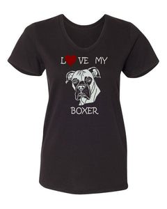 Love My Boxer t-shirt v neck black
