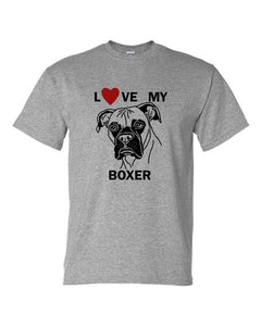 Love My Boxer t-shirt crew neck grey