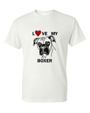 Load image into Gallery viewer, Love My Boxer t-shirt crew neck white