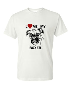 Love My Boxer t-shirt crew neck white