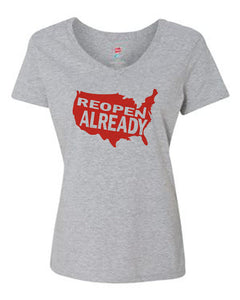 Reopen Already V Neck T-Shirt Grey