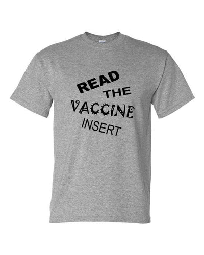 Read The Vaccine Insert Crew Neck T-Shirt Grey