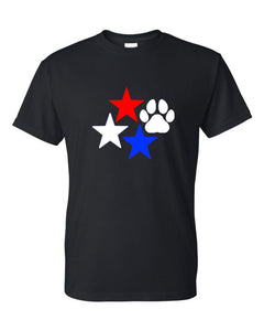 Stars and Paw Print C Neck T-Shirt Black