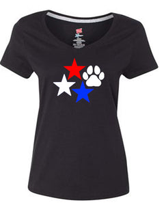 Stars and Paw Print V Neck T-Shirt Black