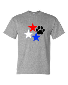 Stars and Paw Print C Neck T-Shirt Grey