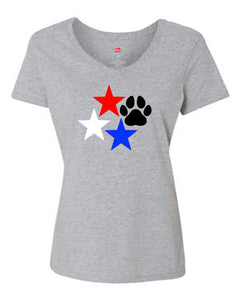 Stars and Paw Print V Neck T-Shirt Grey