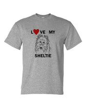 Load image into Gallery viewer, Love My Sheltie t-shirt crew neck grey