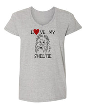 Load image into Gallery viewer, Love My Sheltie t-shirt v neck grey