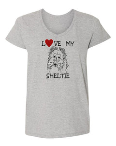 Love My Sheltie t-shirt v neck grey
